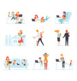 collection parents working with their children vector image