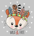 cute cartoon tribal fox with feathers vector image