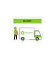 delivery logo with a man with boxes and truck vector image