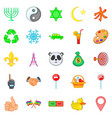depiction icons set cartoon style vector image vector image