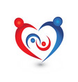 family union in a heart icon logo vector image