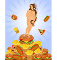 Fat woman and a heap of fast food vector image