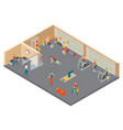 fitness hall isometric composition vector image vector image