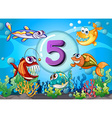 flashcard number 5 with 5 fish underwater vector image vector image