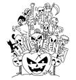 Halloween ghost doodle art vector image