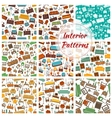 interior patterns set furniture icons vector image