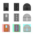 isolated object of door and front logo collection vector image vector image