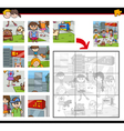 jigsaw puzzle game with kids vector image vector image
