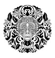 leaf ape head ornament vector image vector image