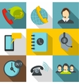 Online support icons set flat style vector image vector image