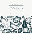 oysters and wine design template hand drawn vector image vector image