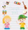 paper design with kids and musical instruments vector image vector image