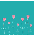 Pink strip heart flowers Love card Flat deign vector image