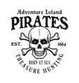 pirate skull and crossed bones emblem vector image