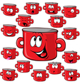 pot cartoon with many expressions vector image vector image