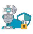 robot humanoid with microchip and set icons vector image vector image