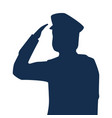 saluting army soldier silhouette icon on white vector image vector image