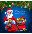 Santa with two bags of gifts and candys vector image vector image