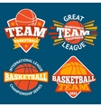 set basketball labels with balls and ribbons vector image
