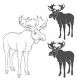 set black and white with moose vector image vector image