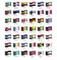 set buttons with flags vector image vector image