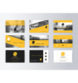 Set of business cards yellow background Template vector image vector image