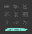 set of music icons line style symbols with gong vector image vector image