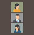 set of three portrait photos vector image vector image