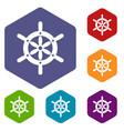 ship wheel icons set hexagon vector image vector image