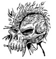 skull hand draw with flame vector image vector image