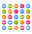 sound and audio waves flat design long shadow vector image vector image