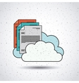 text document with clouds isolated icon design vector image