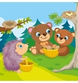 Two Bears And Hedgehog vector image vector image