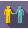 Two men shaking hands icon flat style vector image vector image