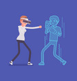 vr woman boxing vector image vector image