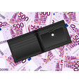 wallet on five hundred euro background vector image vector image