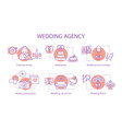 wedding agency concept icons set vector image vector image
