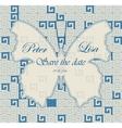 Wedding invitation greek pattern blue with vector image
