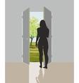 Woman in open door vector image vector image
