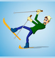 young man falling while skiing vector image vector image