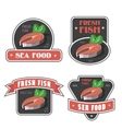 Seafood and fresh fish label or logo vector image