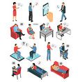 people chatting isometric icons set vector image