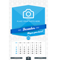 December 2016 Wall Monthly Calendar for 2016 Year vector image