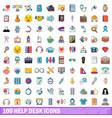 100 help desk icons set cartoon style vector image vector image