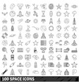 100 space icons set outline style
