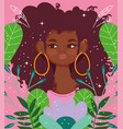 afro american woman with earrings cartoon flowers vector image vector image