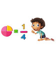 boy learning fraction on white background vector image vector image
