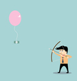 businessman aiming at money with bow and arrow vector image