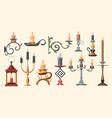 candlesticks candle holders and candelabra lights vector image