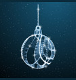 christmas balls low poly decoration on blue vector image